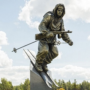 Unveiling of the Monument to the Army Skier by Zurab Tsereteli in the Patriot Park in Moscow